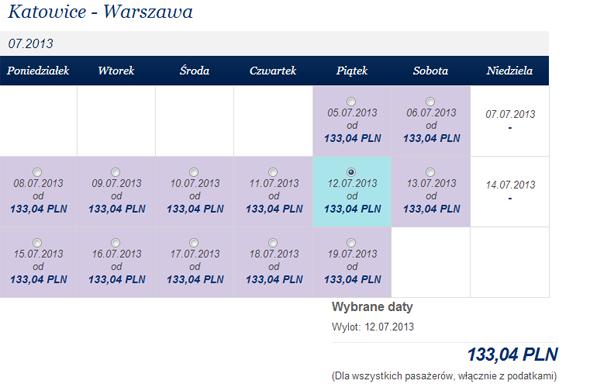 tanie loty do Warszawy