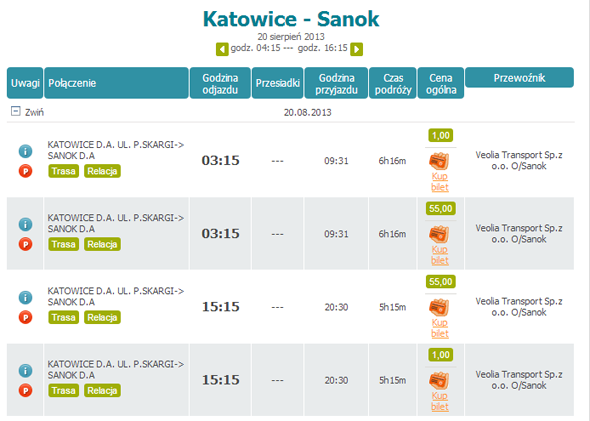Tanie autobusy do Sanoka
