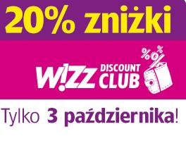 Wizz Air – 20% zniżki dla Wizz Discount Club.