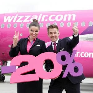 Wizz Air: 20% zniżka na bilety dla członków Wizz Discount Club.