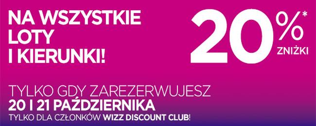 Wizz Air: Dwudniowa obniżka cen o 20 %